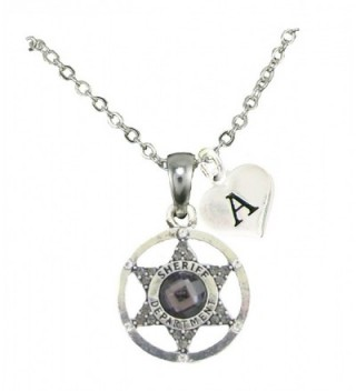 Custom Gray Crystal Sheriff Deputy Silver Necklace Jewelry Choose Initial All 26 - CY12MXNU630