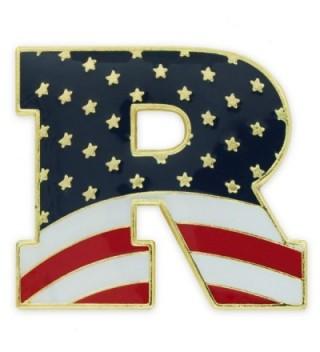 "PinMart's American Flag Republican Party ""R"" Patriotic Enamel Lapel Pin - CS11RM4GY7H"