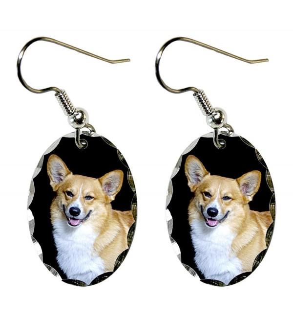 Canine Designs Pembroke Welsh Corgi Scalloped Edge Oval Earrings - CU11752151V