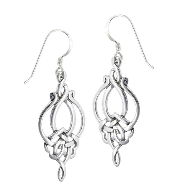 .925 Sterling Silver Unique Celtic Knot French Wire Earrings - CD11EJOTQA9