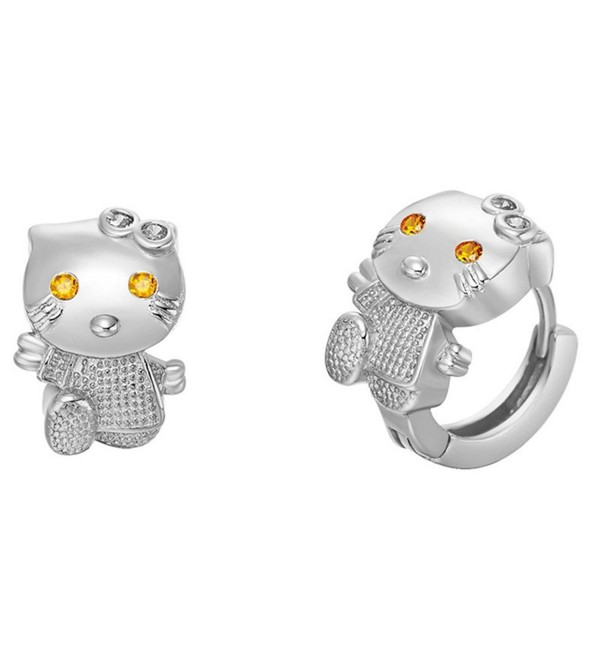 Uloveido Sterling Earrings Zirconia R564 Silver - Platinum Plated - C01833RKYL4