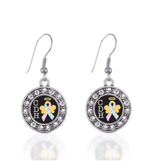 CDH Awareness Circle Charm Earrings French Hook Clear Crystal Rhinestones - C9124BUHKNL