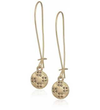 The SAK Elongated Etched Drop Earrings - Gold - C717YLNQ0UU