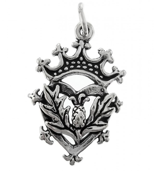 Corinna-Maria 925 Sterling Silver Scottish Thistle Luckenbooth Charm - C211618OWX3