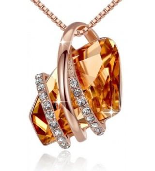 Presented Leafael Swarovski Crystals Necklace - Brown - C112HBXFJDX