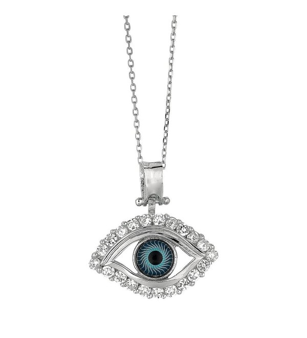 Finejewelers Sterling Silver 18 Inch Evil Eye Pendant Necklace - C9183K04I44