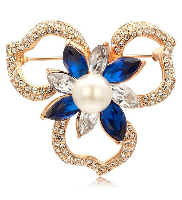 Kemstone Rose Gold Plated Sapphire Crystal Pearl Flower Brooch - CD185D7N9H2