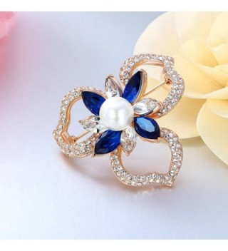 Kemstone Plated Sapphire Crystal Flower in Women's Brooches & Pins