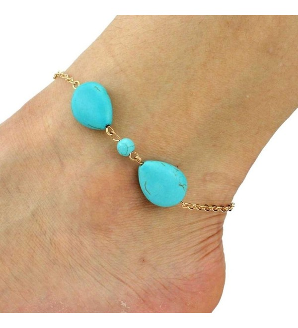 OVERMAL Women Fashion Punk Metal And Stone Anklets Beach Foot Jewelry - C81266XRSNX