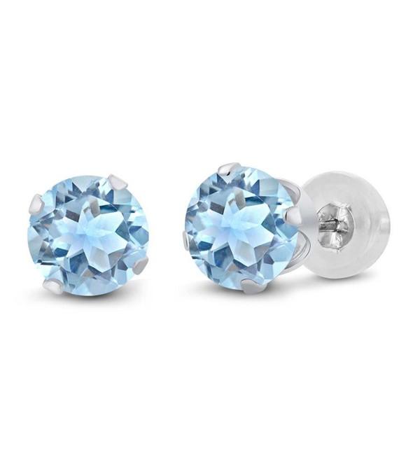 14K White Gold Sky Blue Topaz Gemstone Birthstone Stud Earrings (2.39 cttw- 6MM Round Cut) - CH11H7OFOJV