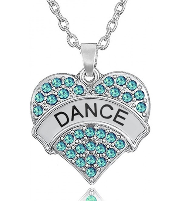 "Silver Tone Crystal Heart Shaped ""DANCE"" Pendant Charm Necklace for Girls- Teens- Women - ""Aqua Blue 1"""""" - CB188K5MWK2"