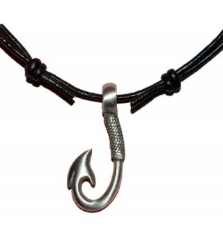 Native Treasure - Fishing Hook with Rope Design Pewter Pendant Black Leather Cord Necklace Choker - CN110HBS5IN