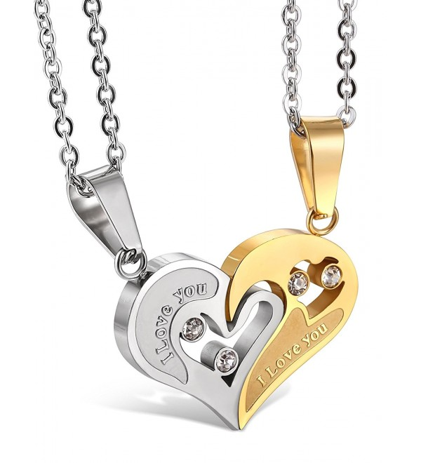 Jstyle Stainless Steel Mens Womens Couple Necklace Friendship Puzzle CZ Love Matching Heart Pendants - CG11VW4VPT5