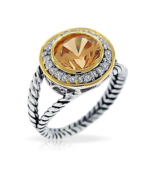 Bling Jewelry Round Champagne CZ Two Tone Double Cable Sterling Silver Ring - CF113Z3CMRP