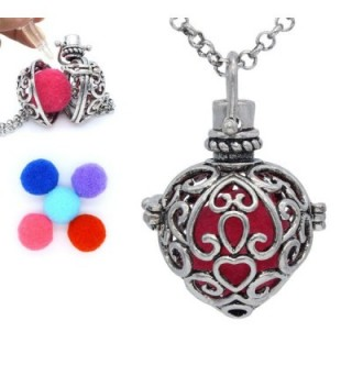 Antique Silver Heart Shaped Locket Pendant Essential Oil Aromatherapy Diffuser Necklace+5 pompons - CO126668S61