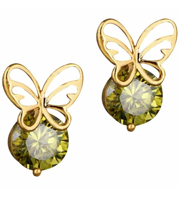 YAZILIND Charming Butterfly Zirconia Earrings - green - CV11MJ2G9A3