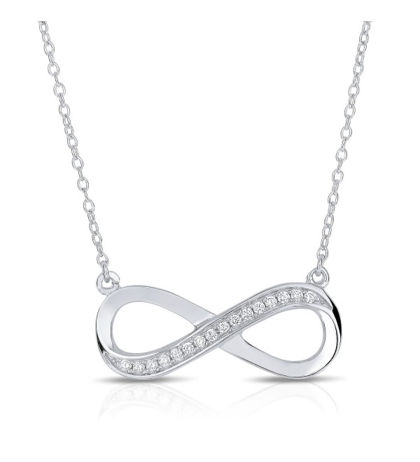 "925 Sterling Silver Cubic Zirconia Infinity Pendant Necklace 16"" + 1"" Extension - CW128KJT1J5"