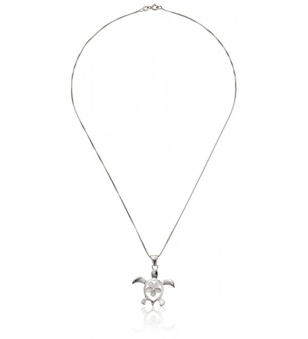 "Sterling Silver Turtle Honu with Plumeria CZ Necklace Pendant with 18"" Box Chain - CI119NCJKQ3"