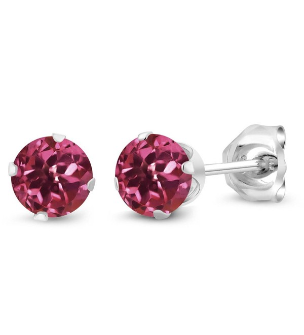 Pink Tourmaline Gemstone 925 Sterling Silver Stud Earrings (0.48 Cttw- 4MM Round) - C411O0KP4JF