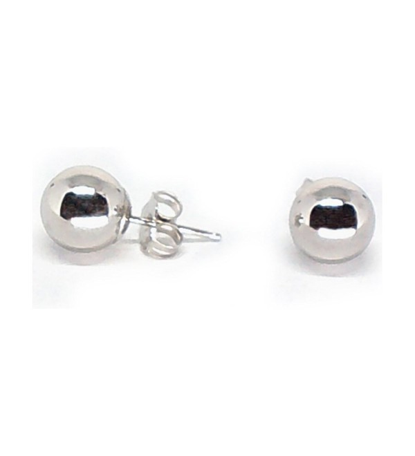 14K White Gold 7mm Round Polished Ball Post Stud Earrings - C212CDDB985