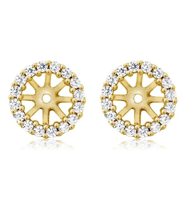 925 Yellow Gold Plated Sterling Silver Earring Jackets for 7mm Round Studs - CJ11MMEEA77