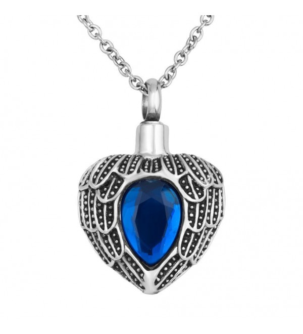 """Birthstone Necklace Memorial Cremation Stainless - """"  Blue """" - CZ12GDWCD0P"""