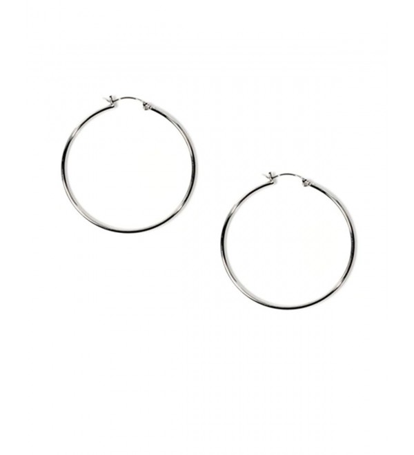"Medium .925 Sterling Silver Round Circle Hoop Earrings 40mm 1.6"" - CU117ZAUEF5"