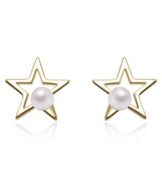 YAN & LEI Sterling Silver Cutout Star with 3 MM Simulated Round Shell Pearl Stud Earrings - Golden - CF12MAZQ0RC