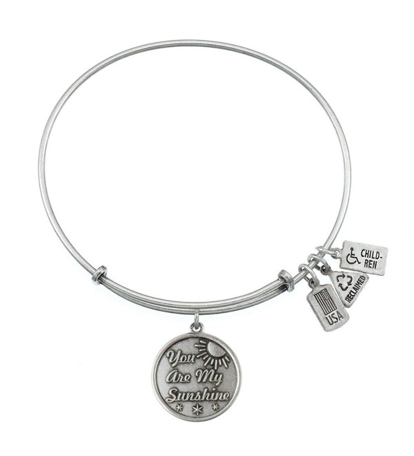 Wind and Fire You are My Sunshine Charm Bangle Silvertone Finish - C711VBZNV1F