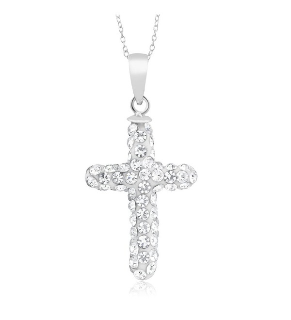 10 Cttw Sterling Silver Finish Crystal Heart or Cross Necklace - C211YQZD2UR
