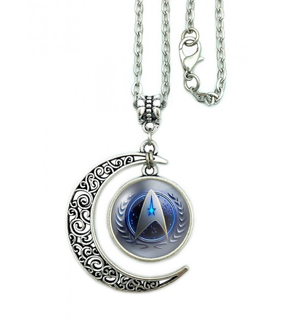 Moon Necklace Star Trek Starfleet Command Pendant Charms Friendship Gift For Women with Giftbox - CC12KFP81HP