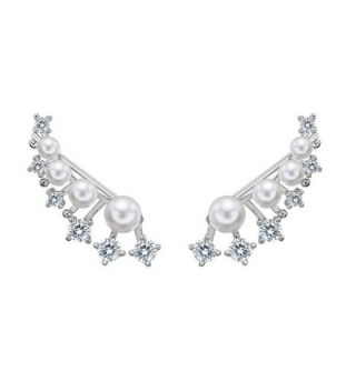 EleQueen 925 Sterling Silver CZ White Simulated Pearl Ear Crawlers Bridal Hook Earrings 1 Pair - CO17Z52YNX6