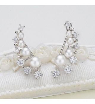 EleQueen Sterling Simulated Crawlers Earrings