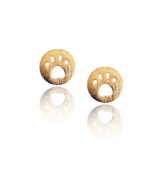 Golden Mini Paw Print Button Post Earrings with Brushed Texture - CX123VWJP4R