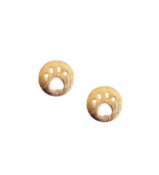 Golden Button Earrings Brushed Texture