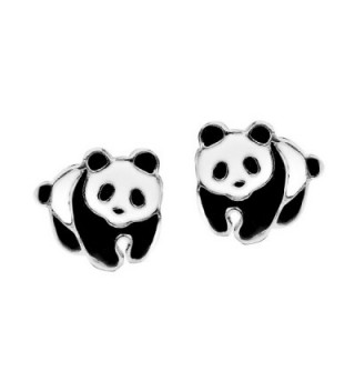 Adorable Panda Bear Colored Enamel .925 Sterling Silver Stud Earrings - CZ127R1NRMJ
