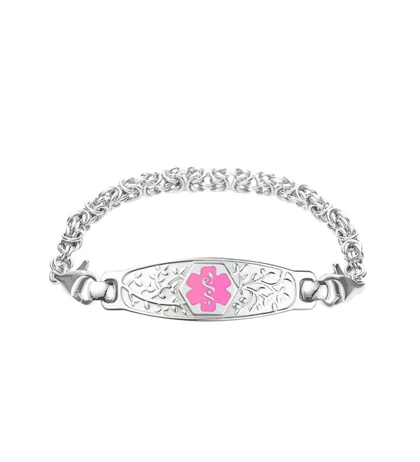 Divoti Custom Engraved Beautiful Olive Medical Alert Bracelet -Handmade Byzantine -Pink - CT12CHI8QUP