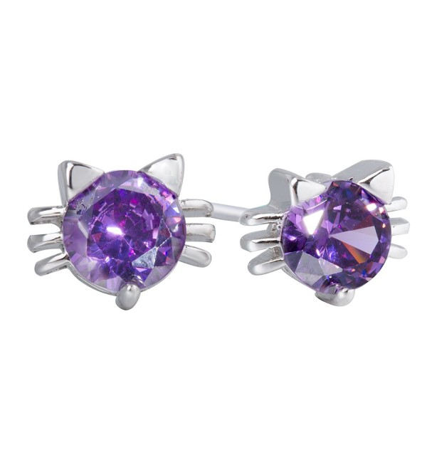 S.leaf Zirconia Cat Stud Earrings Diamond Cat Earrings Sterling Silver Everydays Jewelry - CO129EY7PVB