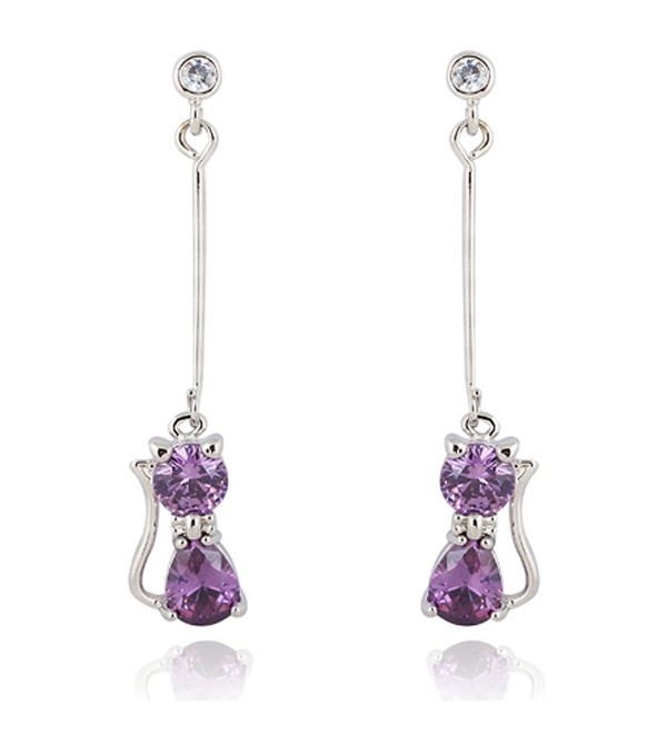 Yazilind Charming 18k Gold Plated Round Clear Cut Cubic Zirconia Elegant Cat Long Dangle Drop Earrings - purple - C111MK3R9NN