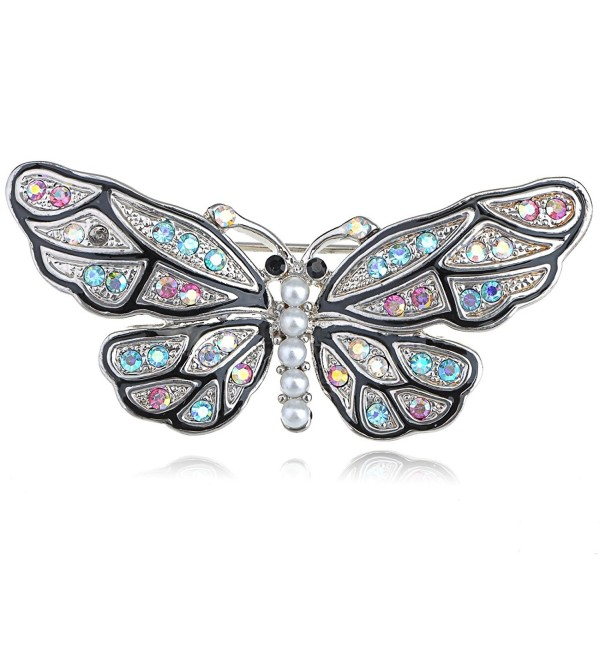 Mosaic Multicolor Crystal Rhinestone Faux Pearl Body Butterfly Moth Pin Brooch - CQ1163ZK0ML