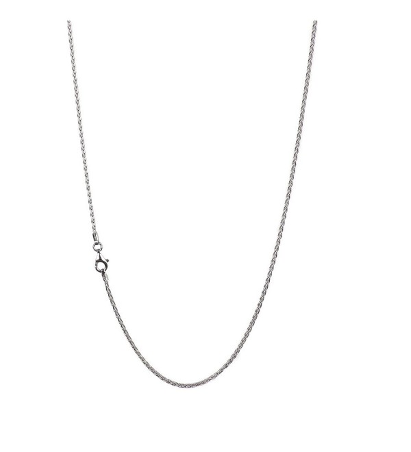 925 Sterling Silver 2.00 mm Spiga-Wheat Chain Necklace With Pear Shape Clasp-RHODIUM FINISH - CG12O1TJTEG