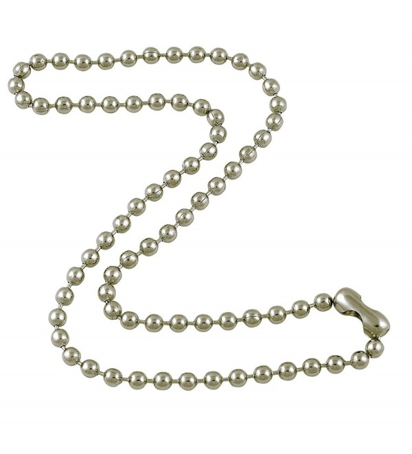 4.8mm Large Silver Tone Steel Ball Chain Necklace with Extra Durable Color Protect Finish - CV12IERU73R