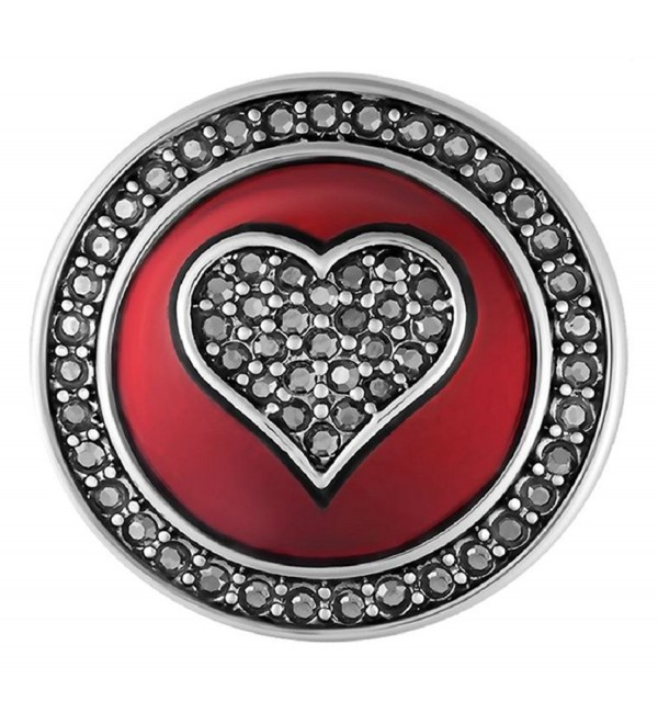 Ginger Snaps Red Enamel Hematite Heart SN01-23 (Standard Size) Interchangeable Jewelry Accessories - CR185M9X2I5