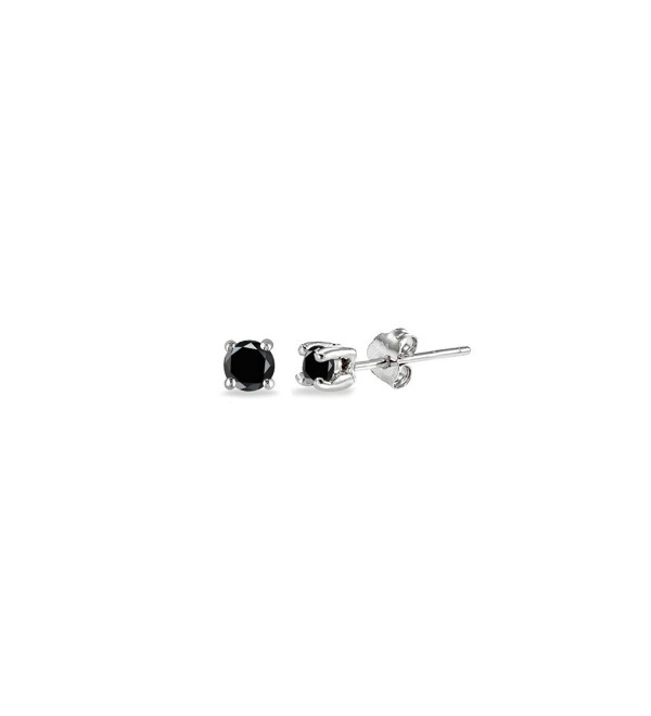 Sterling Silver Black Cubic Zirconia 2mm Round Stud Earrings - CT186ONNLXG