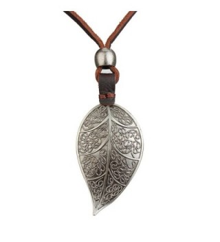 Jenia Pendant Handmade Genuine Necklace - leather rope cord-silver - CE183K3S5RU