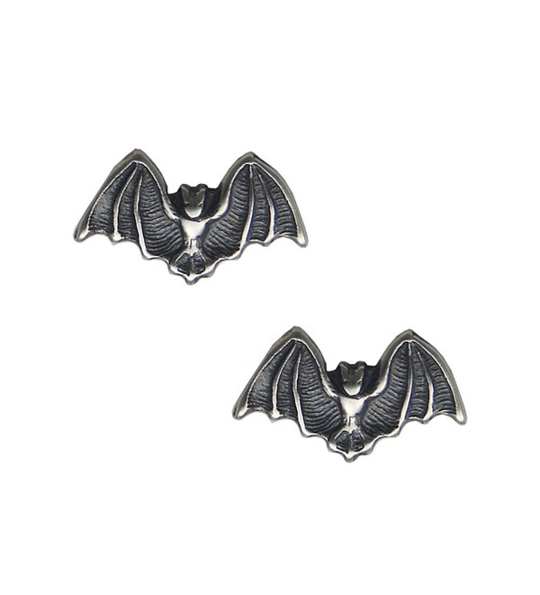 Sterling Silver Little Bat Post Stud Earrings - CE11LBGRLO7