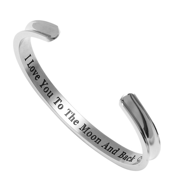 "Liuanan Stainless Steel Bracelet ""I Love You to the Moon and Back"" Cuff Bangle for Mother's Day Gift - Silver - CB17WWMWM43"