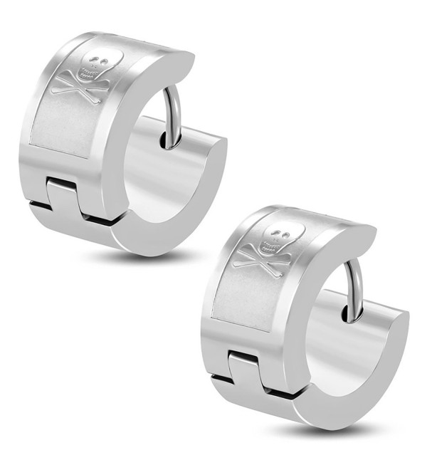 BSJ Stainless Steel Pirate Skull Crossbones Small Hoop Huggie Pierced Earrings - C3116XVEYSL