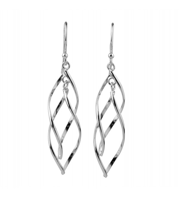 Sterling Silver Double Twist Elongated Leaf Drop Dangle Earrings - CM12KJNZRY3