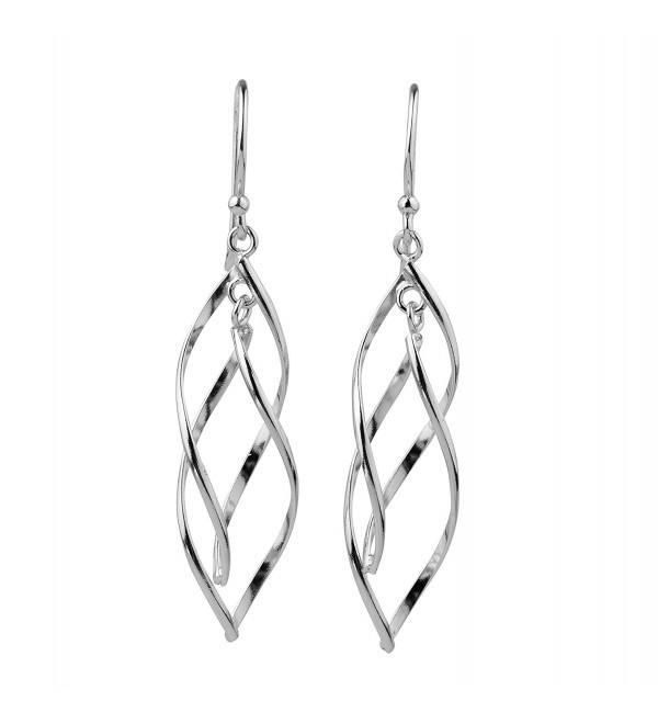 Sterling Silver Double Twist Elongated Leaf Drop Dangle Earrings - CM12KJNZRY3